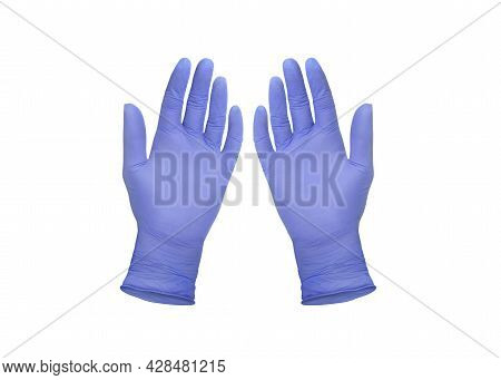 Medical Gloves. Two Blue Surgical Gloves Isolated On White Background With Hands. Rubber Glove Manuf