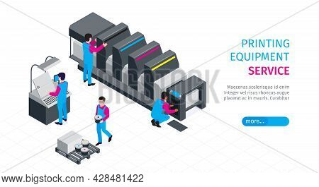 Isometric Polygraphy Horizontal Banner With Printing Equipment Service Headline And More Button Vect