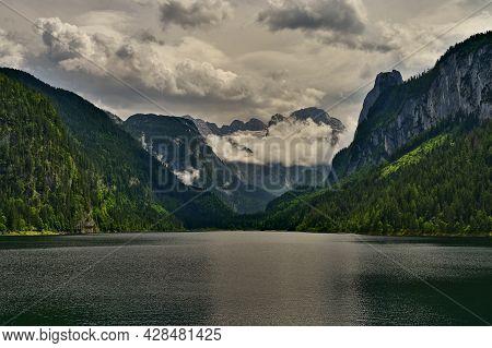 Gosausee - Beautiful Lake In The Mountains In Austria. Under The Dachstein Mountains. Popular Touris