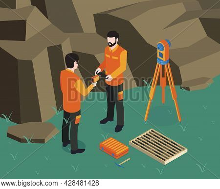Isometric Geological Colored Composition Two Geodesists Work On Site With Their Equipment Vector Ill