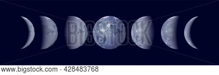 Moon Phases Realistic Set With Rising And Full Moon Isolated Vector Illustration