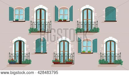 Glazed Windows And Balconies On The Gray Facade Of The House Flat Vector Illustration