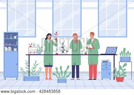 Scientists In The Laboratory Are Conducting Research In The Field Of Microbiology Flat Vector Illust
