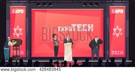 Conference Hall Background With Expo Tech Presentation Symbols Flat Vector Illustration