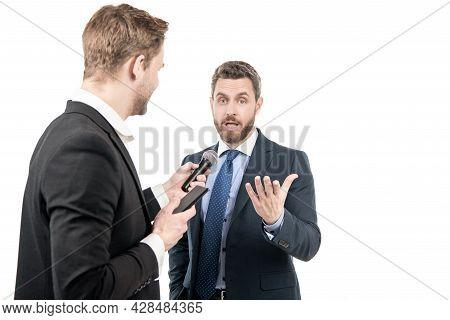 Political News. Journalist Interviewing Politician. Journalistic Interview. Media Interview