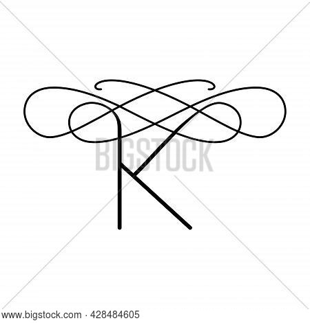 Vector Logo In The Form Of The Letter K. Elegant Emblem With A Unique Letter K.