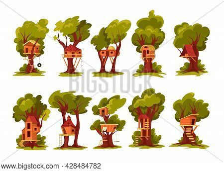 Set Of Isolated Children Tree Wood Houses With Images Of Small Buildings Hanging On Tree Trunks Vect