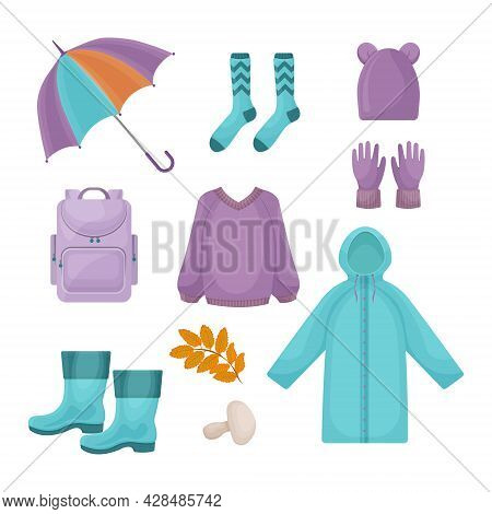 A Bright Large Set Consisting Of Autumn Accessories, A Warm Knitted Sweater, Rubber Boots, Gloves,a
