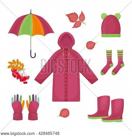 A Bright Large Set Consisting Of Autumn Accessories, Such As An Umbrella,a Raincoat,warm Socks,rubbe