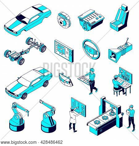 Set Of Isolated Car Parts Production Isometric Icons With Motor Vehicle Parts Plant Facilities And W