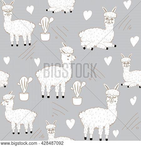 Vector Illustration Of Sweet Llama Or Alpaca And Cactus. Seamless Pattern Of Hand Draw Llama. South