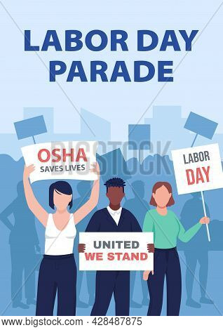 Labor Day Parade Poster Flat Vector Template. Organizing Peaceful Rallies. Brochure, Booklet One Pag