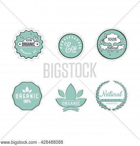 Eco Friendly Cartoon Labels To Mark Organic And Natural Products, Also Items For Vegan. Vector Bio A