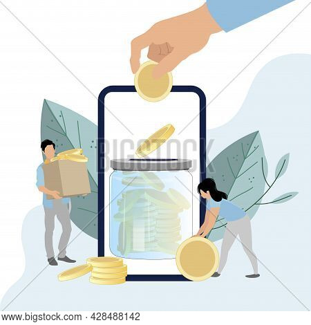 Deposit Mobile Banking, Collecting Finance On Banking Account. Accumulation Financial. Vector Collec