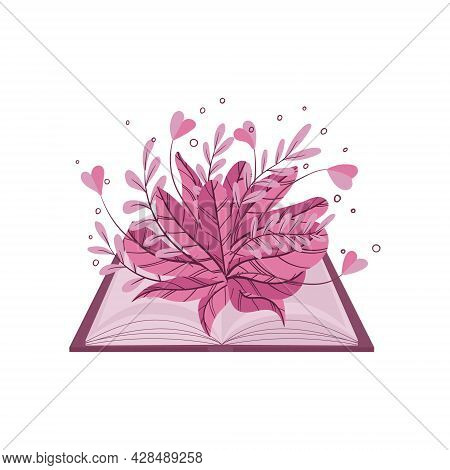 An Open Book With Plants And Flowers Growing Out Of It. Sprouts Of Knowledge. The Concept Of Knowled