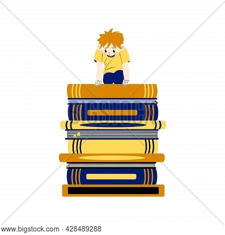 A Little Boy Sits On A Stack Of Books And Looks Down. The Concept Of Learning Difficulties. Back To