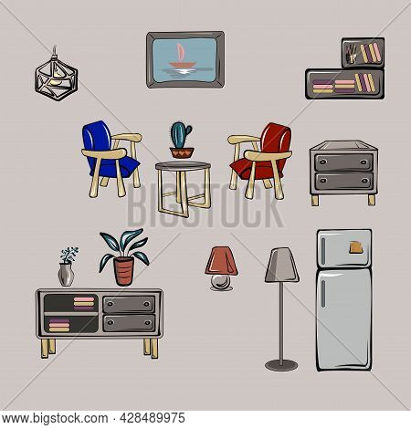 Shelf, Chest Of Drawers, Wardrobe, Curbstone, Table, Table Lamp, Chandelier, Refrigerator, Armchair,