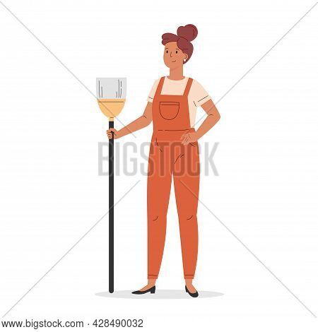 Young Girl Dressed In Overalls With A Broom. Housekeeping Activity. Flat Vector Cartoon Illustration