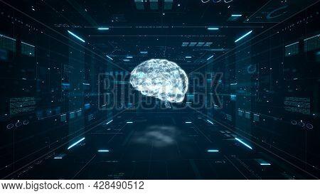 Artificial Intelligence Brain Animation. Digital Brain Big Data Deep Learning Computer Machine. Anim