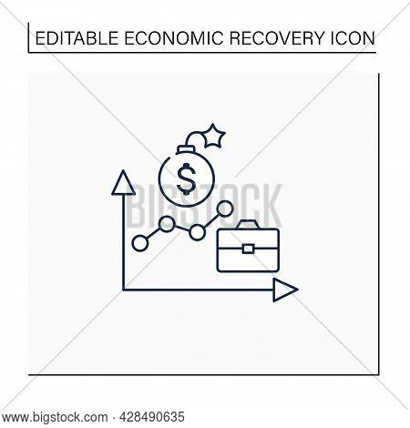 Economic Boom Line Icon. Upswing, Upturn, And Growth Period. Profitable Economy Period.business Conc