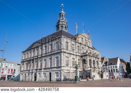 Maastricht, Netherlands - July 20, 2021: Historic Town Hall On The Central Market Square Of Maastric