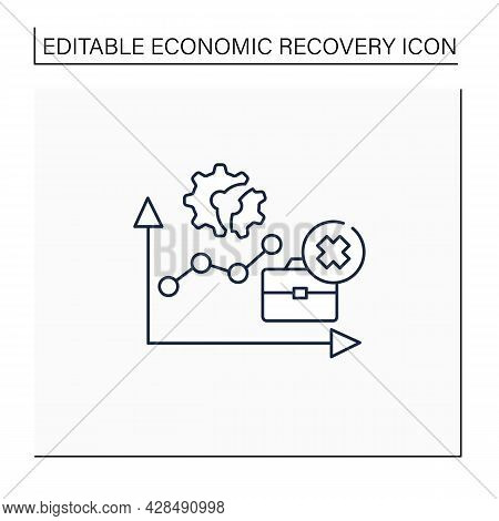 Unemployment Rate Line Icon.total Labor Force. Expanding Jobs. Economy Recovery Concept. Isolated Ve