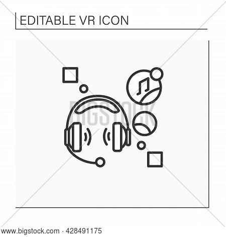 Headset Computer Line Icon. Headphone With Microphone Attached, Used Especially In Communication, Li