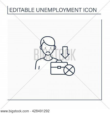 Jobless Line Icon. Fired Worker. Upset Man Lost Job. Staff Reduction.unemployment Concept. Isolated