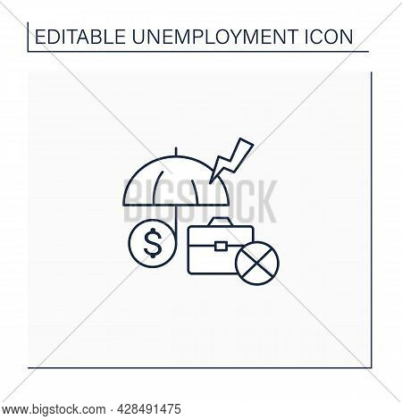Unemployment Insurance Line Icon. Temporary Income For Eligible Workers. Unemployed Protection. Repl