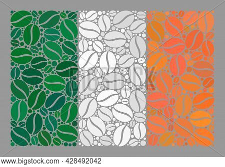 Mosaic Ireland Flag Is Constructed Of Coffee Seed Elements. Vector Coffee Mosaic Ireland Flag Design