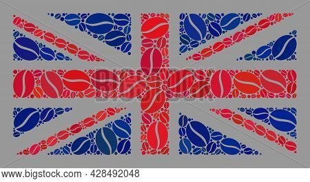 Mosaic Great Britain Flag Is Designed With Cocoa Seed Items. Vector Coffee Collage Great Britain Fla
