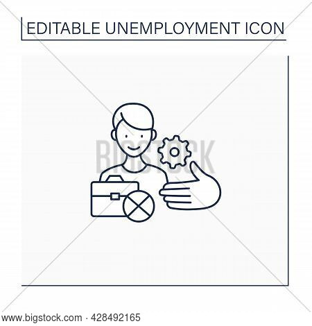 Unemployment Services Line Icon. Service To Protect Employees.help With Finding Job. Employment Cent