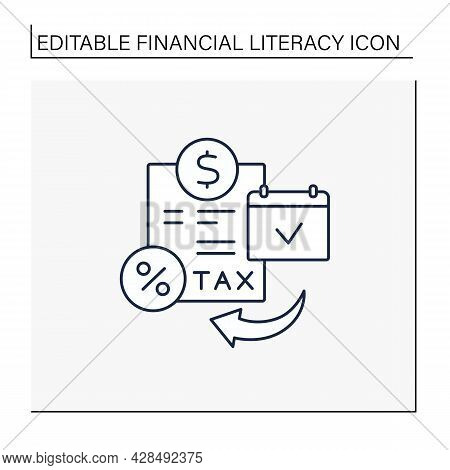 Tax Planning Line Icon. Financial Planning For Tax Efficiency. Financial And Business Decisions To M