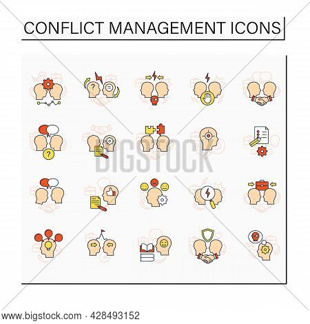 Conflict Management Color Icons Set. Conflict Between Two Persons. Dispute Resolution.compromising.c