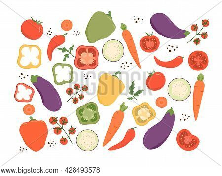 Fresh Vegetable Set. Set Includes Tomatoes, Bell Peppers And Hot Peppers, Carrots, Eggplants. Farm V