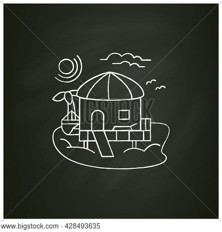 Beach Hut Chalk Icon.tropical Comfortable Bungalow On Beach. Round Roof. Palms, Seascape. Relaxing P