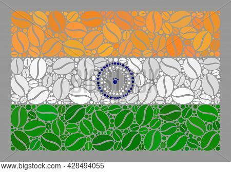Mosaic India Flag Is Constructed With Cacao Grain Items. Vector Coffee Collage India Flag Constructe