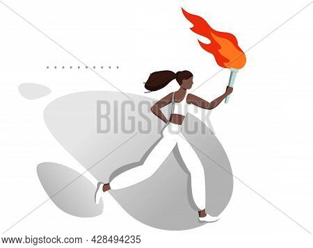 A Young Black Woman Runs With A Burning Torch. Sports Games And Competitions. Peaceful Fire Is A Sym