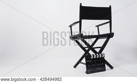Black Director Chair And Black Clapper Board Or Movie Slate Use In Video Production Or Cinema Indust