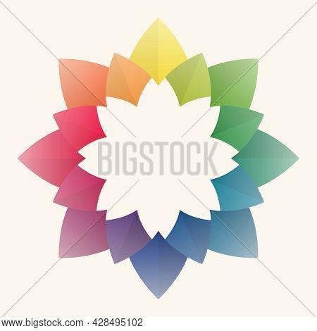 Colorful Flower Petal Frame. Pastel Color Tones. Mandala Shape Pattern. Leave Blank Background For T