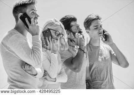 Friends Chatting Sky Background. Mobile Communication. People With Smartphones. Mobile Call. Convers