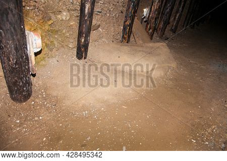 The megalithic blocks inside mysterious Ravne tunnels in Bosnian Pyramid Valley , Visoko . Bosnia and Herzegovina.