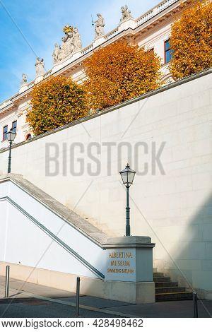 Vienna, Austria - Oct 17, 2019: Back Side Entrance Of Albertina Museum Building. Lantern And Logo On