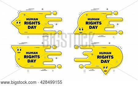Human Rights Day Message. Cartoon Face Transition Chat Bubble. Celebrate A Civil Day. International
