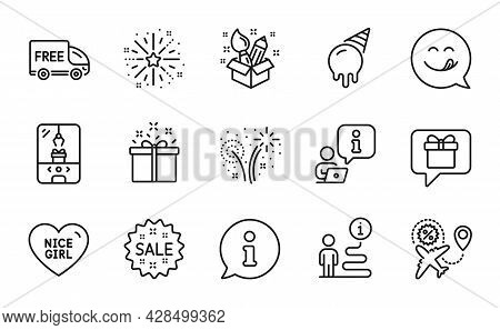 Holidays Icons Set. Included Icon As Flight Sale, Sale, Special Offer Signs. Creativity, Fireworks,