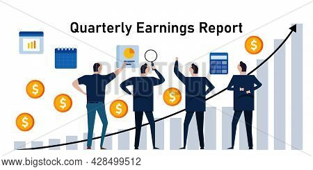 Quarterly Earnings Report Periodic Financial Profit Each Quarter Of Year Sales Profit Company