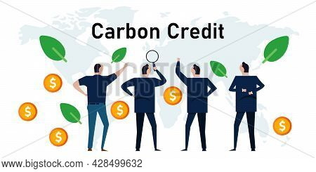 Carbon Credit Concept Responsibility Of Co2 Emission Taken Into Financial Credit For Ecology Refores