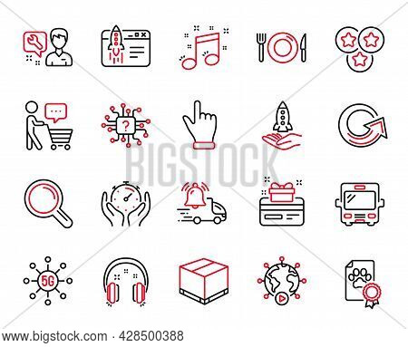 Vector Set Of Business Icons Related To Delivery Box, Timer And Headphones Icons. Stars, Repairman A