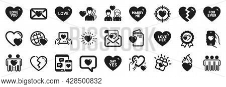 Set Of Love Icons, Such As Love, Broken Heart, Heart Icons. Hearts, For Ever, Friends Couple Signs.