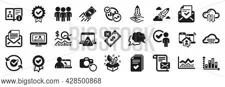 Set Of Education Icons, Such As Trade Infochart, Startup Rocket, Mail Correspondence Icons. Fast Pay